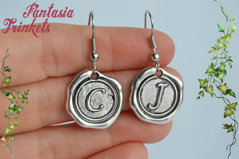 Claire and Jamie Initial Letters Silver Hook Earrings - Outlander Jewelry