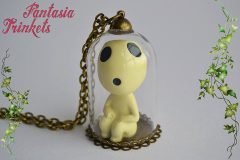 "Tree Spirit ""Kodama"" Miniature Figurine in a Glass Dome Pendant Necklace - Ghibli Mononoke Jewelry"