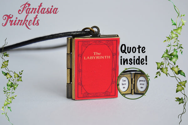 Labyrinth Miniature Red Book Locket (quote inside) Charm Pendant Necklace Keyring