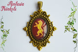 Hear me roar - Golden Lannister Lion Handpainted Bronze Pendant Necklace - Game of Thrones