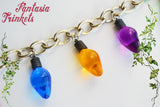 Stranger Things inspired Large Colorful Christmas Tree Lights Silver Thick Link Bracelet