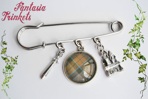 Clan Mackenzie Kilt Pin - Sword + Scottish Tartan + Castle Leoch Shawl Brooch - Outlander Jewelry