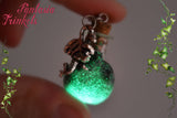 Glow in the Dark Maleficent Green Magic Glass Bottle with Dragon Charm Pendant Necklace - Fantasy Jewelry