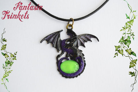Glow in the Dark Maleficent Dragon - Black and Purple Handpainted Pendant Necklace - Fantasy Jewelry