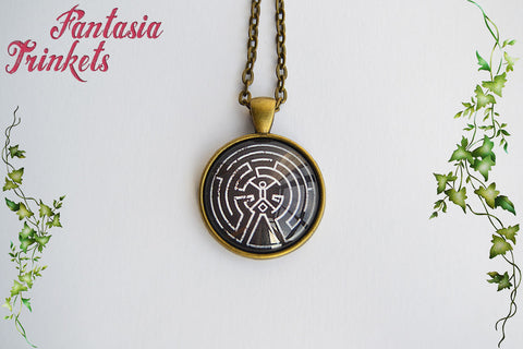 The Maze - Black Version - Photo Glass Pendant Necklace - Westworld inspired