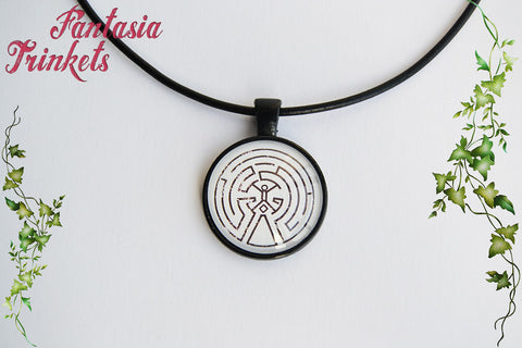 The Maze - White Version - Photo Glass Pendant Necklace - Westworld inspired