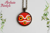 Princess Mononoke Mask Photo Glass Pendant Necklace - Ghibli Jewelry