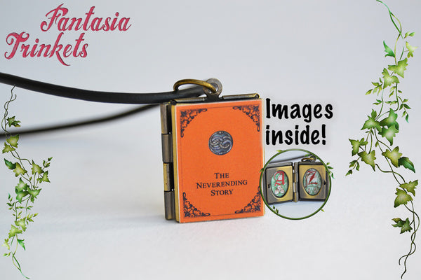 The Neverending Story Miniature Book Locket (quote inside) Charm, Keychain or Pendant Necklace