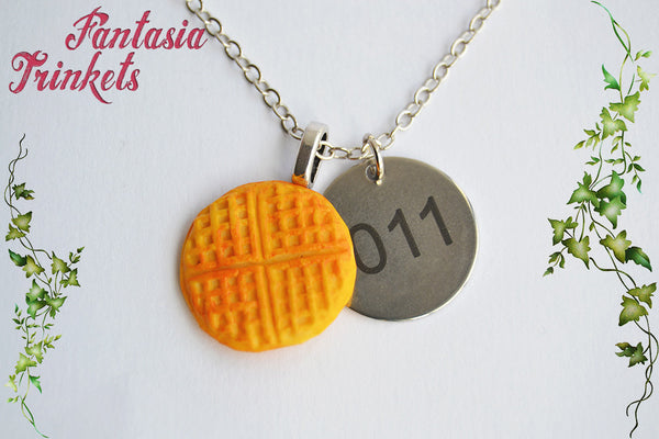 "Eleven Necklace - Eggo Waffle + ""011"" Steel Tag Charm Pendant Necklace - Stranger Things Jewelry"