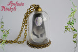 "No Face ""Kaonashi"" Spirit Miniature Figurine in a Glass Dome Pendant Necklace - Ghibli Spirited Away Jewelry"