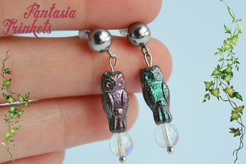 Jareth the Goblin King Earrings - Tiny Color Shifting Owl Bead & Crystal Ball Dangle Stainless Steel Studs - Labyrinth Jewelry