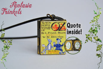 The Wonderful Wizard of Oz Miniature Book Locket (quote inside) Charm, Keychain or Pendant Necklace