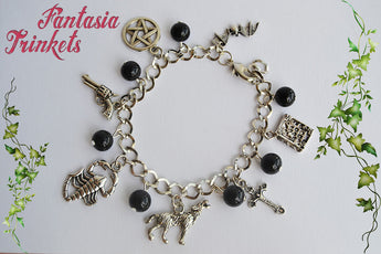 Penny Dreadful inspired Gothic Themed Silver Charm Bracelet with Black Glass Beads - Werewolf Vampire Witch Devil - Vanessa Ives Jewelry