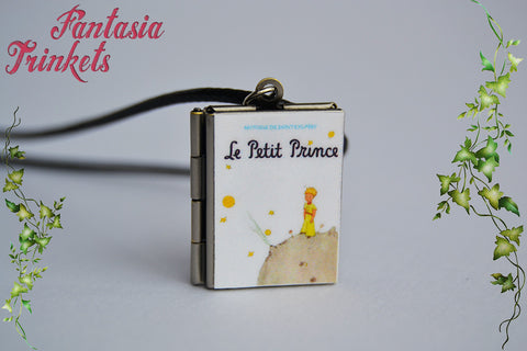 Le Petit Prince Miniature Book Locket (quote inside) Charm, Keychain or Pendant Necklace