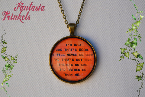 "Bad-Anon Motto ""I'm bad and that's good"" Inspirational Quote Glass Pendant Necklace - Wreck-it Ralph inspired"