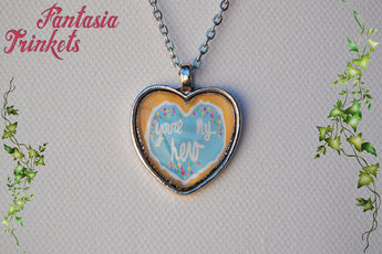 You're My Hero Cookie Medal Heart Shaped Photo Glass Pendant Necklace - Wreck-it Ralph inspired Jewelry