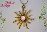 Rapunzel Symbol - Golden Sun with Pink Glass Gem - Handpainted Pendant Necklace - Fairy Tale Princess inspired Jewelry