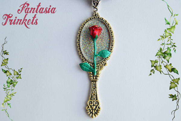 Enchanted Rose + Magic Mirror - Handpainted Pendant - Fairy Tale Beauty & the Beast inspired