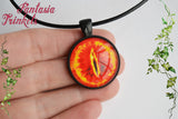 Eye of Sauron - The Dark Lord Sees All - Fiery Evil Eye Photo Glass Pendant Necklace - Medieval Fantasy Jewelry - Tolkien inspired