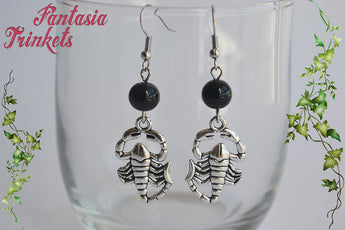 Penny Dreadful inspired Silver Scorpions + Black Glass Beads Dangle Earrings - Hypoallergenic Stainless Steel Hooks - Vanessa Ives Jewelry