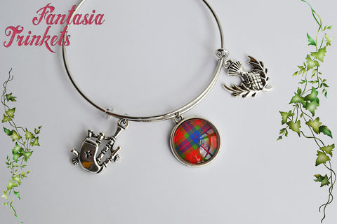 Scottish Silver Bangle Bracelet with Tartan, Bagpipe & Thistle - Outlander Jewelry
