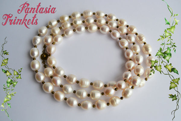 Long Pearl Necklace - Fraser wedding gift replica (freshwater pearls) Outlander Jewelry
