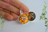Dragonfly in Amber (Czech Glass) Bronze Leverback Earrings - Outlander Jewelry