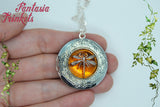 Dragonfly in Amber Silver Locket (wedding vows inside) Pendant Necklace - Outlander Jewelry