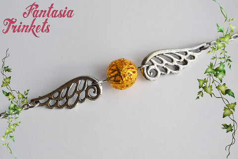 Golden Snitch Bracelet - Small Golden Bead and Silver Wings - Quidditch Seeker - Harry Potter Jewelry