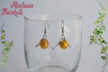 Golden Snitch Earrings - Filigree Ball with Silver Wings Dangles - Quidditch Seeker - Harry Potter Jewelry
