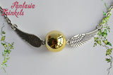 Golden Snitch Necklace - Shiny Golden Bead and Silver Wings - Choker Style - Quidditch Seeker - Harry Potter Jewelry