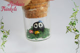 "Black Sootballs ""Susuwatari"" in a Glass Bottle Totoro Miniature Terrarium Pendant Necklace"