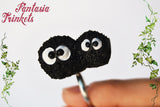 "Black Soot Balls ""Susuwatari"" Adjustable Ring - Ghibli Totoro Jewelry"
