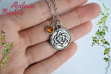 Stainless Steel Celtic Knot Heart + Amber Rhinestone Pendant Necklace - Outlander Jewelry