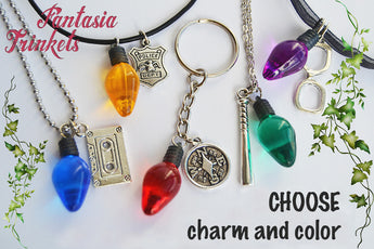 Stranger Things inspired Custom Character Charm + Christmas Tree Light Keychain or Pendant Necklace