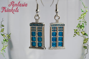 Tardis Earrings - Blue Police Box Silver Tone Dangle Hook Earrings - Doctor Who inspired Jewelry