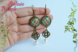 Fraser Tartan + Celtic Knots + Pearls - Bronze Dangle & Drop Hook Earrings - Outlander Jewelry