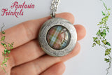 Scottish Locket (song & thistle inside) Fraser Tartan Silver Pendant Necklace - Outlander Jewelry