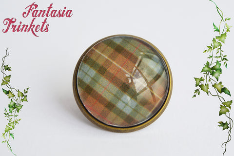 Fraser Tartan Bronze Label Pin or Tie Tack - Outlander Jewelry