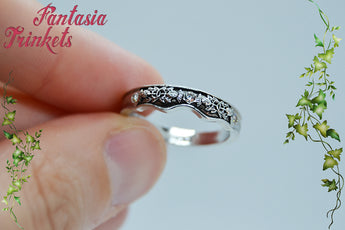 NEW Thistle Band - Scottish Flower Carved Wedding Ring with Rhinestones - Size 6, 7 or 8 - Claire Fraser Jewelry - Outlander inspired