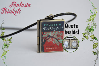 To kill a mockingbird Miniature Book Locket (quote inside) Charm, Keychain and Pendant Necklace