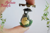Totoro with Umbrella Miniature Figurine in a Glass Terrarium Pendant Necklace - Ghibli Jewelry
