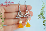 Triquetra, Pearls & Amber Flowers (Czech Glass) Silver Tone Hook Earrings - Outlander Jewelry