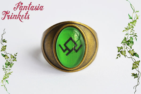Black Lodge Ring - Green Owl Symbol on Unisex Bronze Signet Ring - Twin Peaks inspired