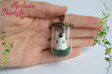White Totoro Miniature Figurine in a Glass Terrarium Pendant Necklace - Ghibli Jewelry