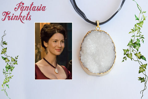 Claire Fraser Poison Detector Necklace - Natural White Druzy Pendant - Outlander Jewelry