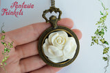 White Rose of Scotland - Jacobite Pocket Watch Pendant Necklace - Outlander Jewelry