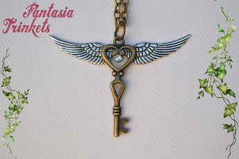 Flying Key - Vintage Bronze Key with Silver Wings Pendant Necklace - Harry Potter Jewelry