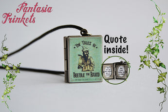 The Tales of Beedle the Bard Book Locket (quote inside) Charm, Keychain or Pendant Necklace - Harry Potter Jewelry