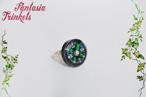 DISCOUNTED Compass on an Adjustable Ring - Dustin Lucas Eleven Mike Wheeler - Stranger Things Jewelry